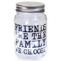 FRIENDS ARE THE FAMILY WE CHOOSE FIREFLY LIGHT UP BATTERY JAR GIFT 13cm x 8 cm
